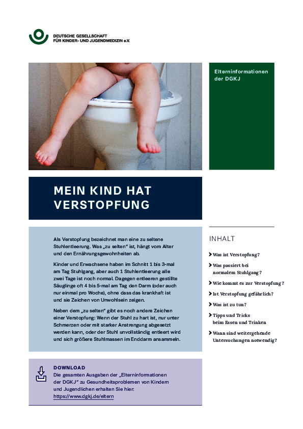 "DGKJ-Elterninformation ""Mein Kind hat Verstopfung"""